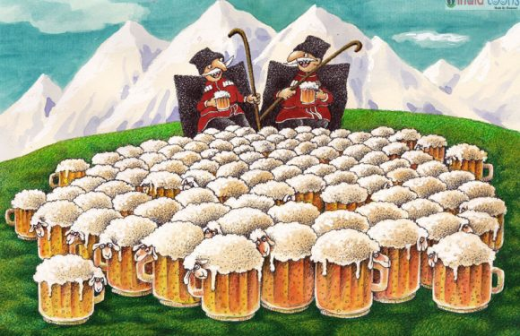 """""""International Beer Day"""" Cartoons by Valentin Druzhinin from Moscow,Russia."""